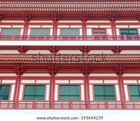 windows Buddha Tooth Relic Temple in China Town Singapore - stock photo