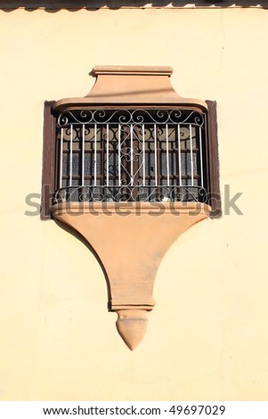 Windows. Detail of facade from vintage colonial building in Santiago de Cuba, Cuba - stock photo