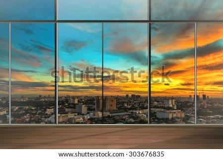 Windows in modern office building - stock photo