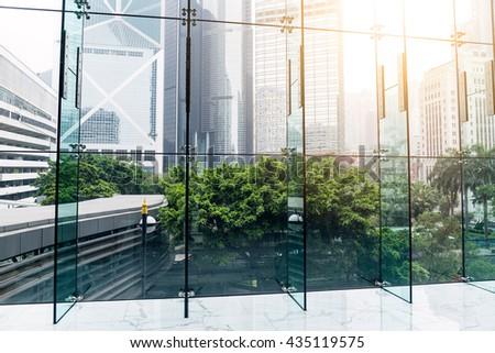 Windows in morden office building - stock photo