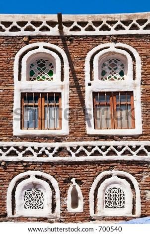 Windows in Sana'a Yemen - stock photo