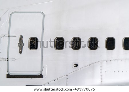 Windows of airplane with emergency exit door. & Plane Door Inside Stock Images Royalty-Free Images \u0026 Vectors ... Pezcame.Com