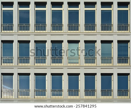 windows of an office building in Berlin - stock photo