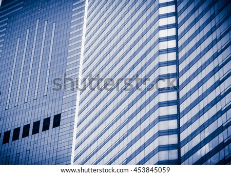 windows of business building in blue color
