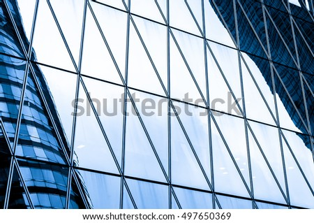 windows of business building in Hong Kong with blue color