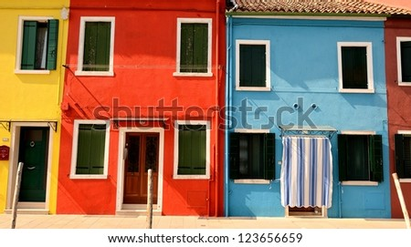 windows of colorful house in Burano, Venice, Italy