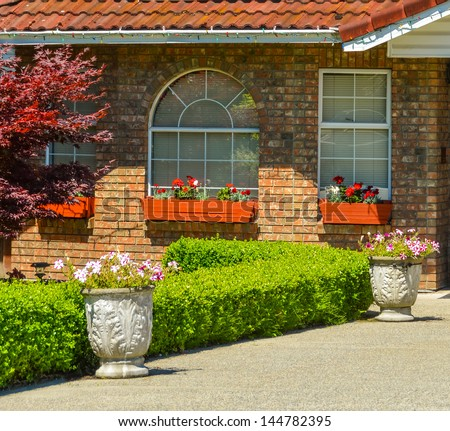 Windows of family house on a sunny day - stock photo
