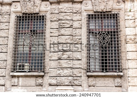 Windows of historical building in the center of Rome