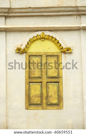 Windows of old, wooden cottage in the temple - stock photo