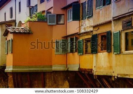 Windows of Ponte Vecchio, Old Bridge in Florence - Italy - stock photo