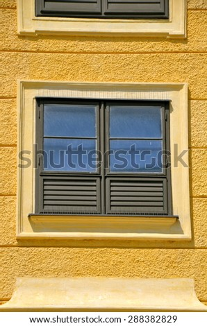 Windows of Schonbrunn Palace in Vienna, Austria - stock photo