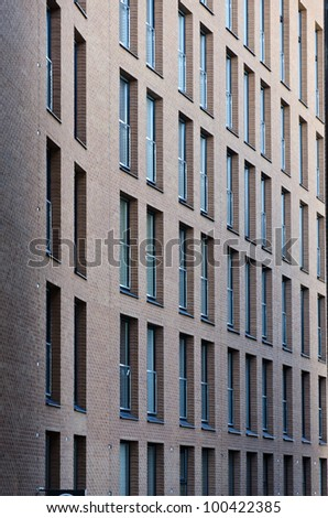 Windows of the old brick building - stock photo