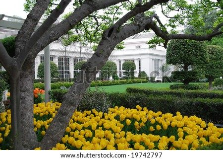 Windows of the Oval Office, the office of the US President, in the West Wing of the White House - stock photo