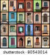 Windows of Venice, Italy. Colorful collage composition. - stock photo