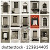 Windows of Venice, Italy. Old architecture. One prominent red window. - stock photo
