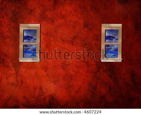 Windows on grunge red wall - stock photo