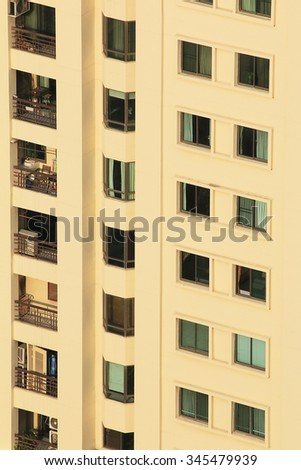 Windows on Residential Building. - stock photo