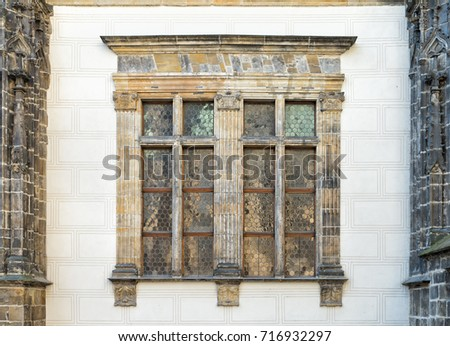 Windows on the South wall of the Old Royal Palace in the Prague Castle complex, Czech Republic.
