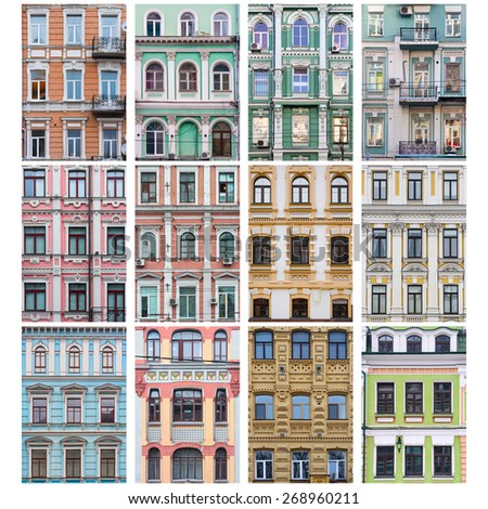 Windows. Ornament. Architecture. Buildings. Collage of the city's infrastructure. Set of urban landmark. - stock photo