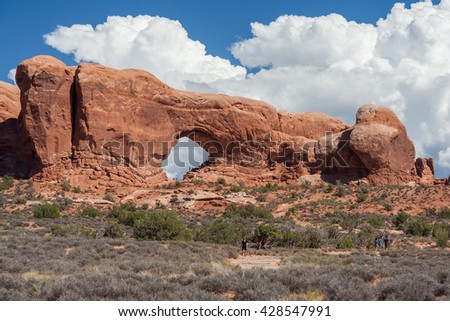 Windows Section Arch in Arches National Park, Utah, USA - stock photo
