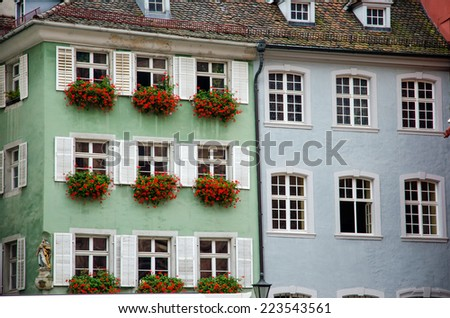 Windows shutters on traditional architecture in Freiburg city, Germany. - stock photo