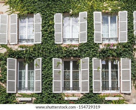 Windows surrounded by vines, Hautvillers, Marne, Champagne Ardenne - stock photo