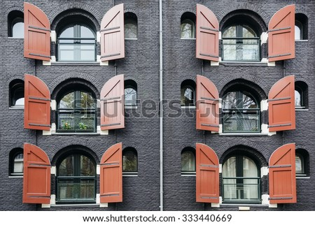 Windows with Opened Shatters  - stock photo