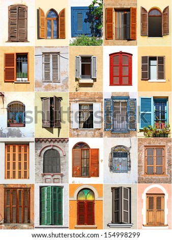 Windows with shutters from Mediterranean - stock photo