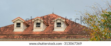 Windows with shutters of old buildings on Dalat highland, Vietnam. Dalat city have many colonial architectures from France. - stock photo