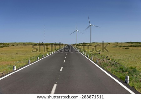 Windpark on the island of Madeira, Portugal