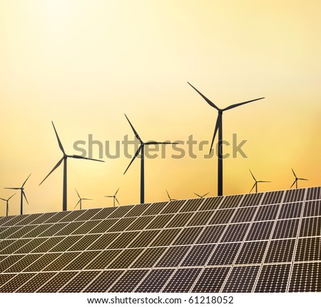 Windraeder und Solaranlage - stock photo