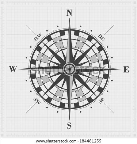 Windrose over grid. Raster illustration. - stock photo