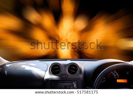 windscreen , car dashboard in front of blurry bokeh.background
