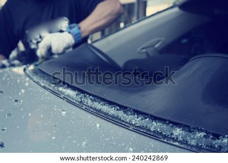 Windshield repair - stock photo