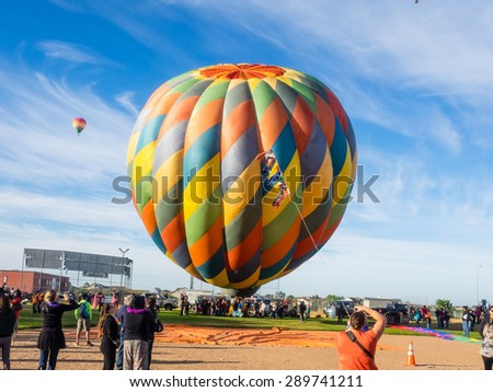 WINDSOR, CA/USA - June 20, 2015: 25th Annual Sonoma County Hot Air Balloon Classic is a yearly event where you can experience balloons up close, watch them launch, and even take tethered rides.