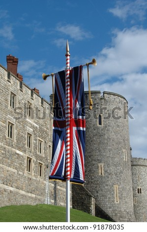 Windsor Castle Tower & Flag - stock photo