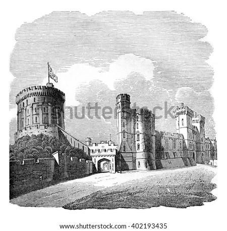 Windsor Castle, vintage engraved illustration. Colorful History of England, 1837. - stock photo