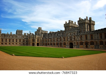 WINDSOR, ENGLAND - APRIL 27 : Windsor Castle pictured on April 27, 2008 in Windsor, England. It was built in 1066 by William the Conqueror and it is the longest-occupied palace in Europe. - stock photo