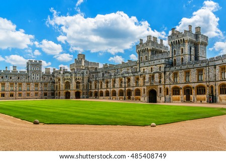 WINDSOR, ENGLAND - MAY 27, 2013: View of Upper Ward (Quadrangle) in Medieval Windsor Castle. Windsor Castle is a royal residence at Windsor in the English county of Berkshire.