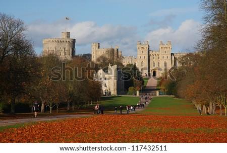 WINDSOR - NOVEMBER 7: Windsor Castle in Windsor, England on November 7, 2009. The castle is the weekend residence of Queen Elizabeth II. - stock photo