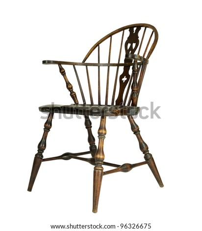 windsor type chair side view on a white background