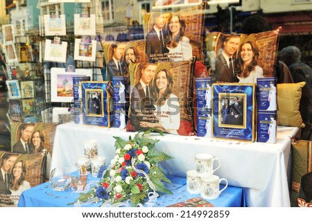 WINDSOR, UK - APRIL 24, 2011: Windsor shop displays souvenirs of the Royal wedding of Prince William and Catherine Middleton  - stock photo