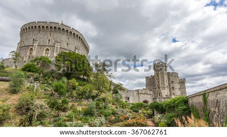 WINDSOR, UK - JULY 22, 2015: Round tower of Windsor Castle. It is a royal residence at Windsor in the English county of Berkshire. The castle is notable for its architecture. - stock photo