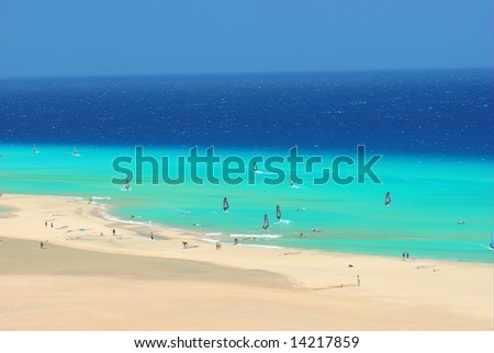 Windsurfer in Fuerteventura, Canary Islands - stock photo