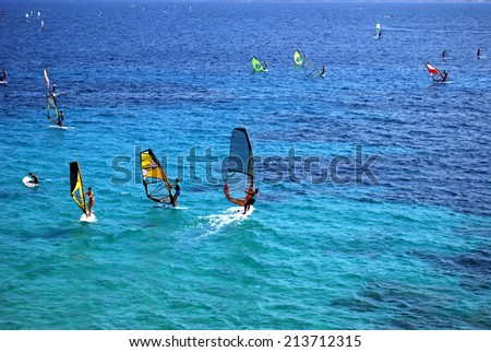 Windsurfers in Bol, Brac, Croatia - stock photo
