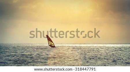 Windsurfing, extreme sports - stock photo