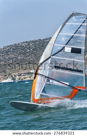 Windsurfing in Alacati, Cesme, Turkey - stock photo