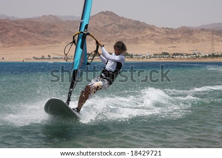 Windsurfing in Dahab. Egypt, Red Sea.