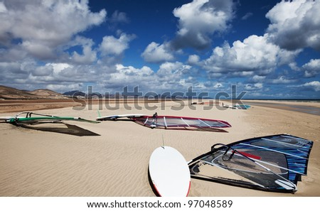 Windsurfing, Playa de Sotavento, Fuerteventura - stock photo