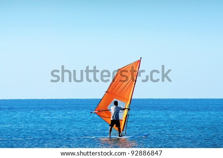 windsurfing Recreation - stock photo
